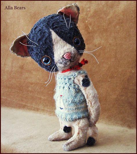 By Alla Bears original artist OOAK Vintage Old  Prim Cat kitten toy doll Summer Whimsical handmade p