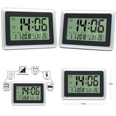 """DreamSky 14.5/"""" Extra Large LED Digital Clock with Date and Indoor Temperature"""