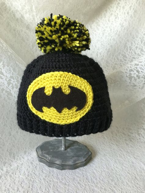 Crochet Hat, Beanie, Baby, Batman, Photo Prop by KNOTgrannycrochet on Etsy https://www.etsy.com/listing/452039256/crochet-hat-beanie-baby-batman-photo