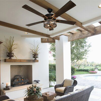 52 Abbigail Woodgrain Caged Farmhouse 5 Blade Ceiling Fan Light Kit Included inside Living Room Ceiling Fans - Home Design Ideas Caged Ceiling Fan, Led Ceiling, Chandelier Ceiling Fans, Ceiling Ideas, Ceiling Design, Ceiling Fan In Kitchen, Living Room Ceiling Fan, Living Room Fans, Vaulted Living Rooms