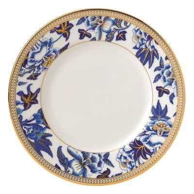 Hibiscus Bone China 5 Piece Place Setting Service For 1 Wedgwood Plates Blue Dinnerware