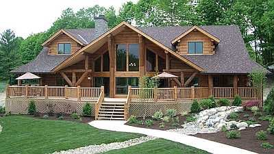 A Very Popular Large Log Home The Big Sky Features Enormous Glass Front 3903 Sq Ft Wrap Around P Log Homes Exterior Log Home Designs Log Cabin Floor Plans