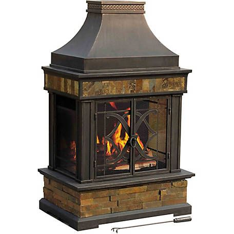 Find Sunjoy Heirloom Slate Fireplace In The Outdoor Fireplaces Category At Tractor Supply Co Bring Warmth Outdoor Fireplace Wood Burning Fire Pit Outdoor Fire