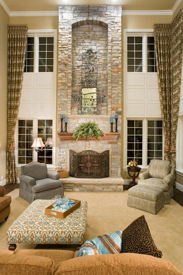Two story family room on pinterest painted wallpaper Great room curtain ideas