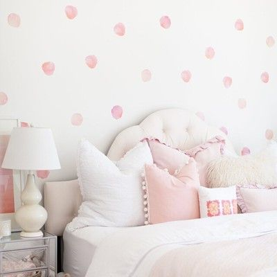 Watercolor Polka Dots Feminine Bedroom Decor Girl Room Toddler Girl Room