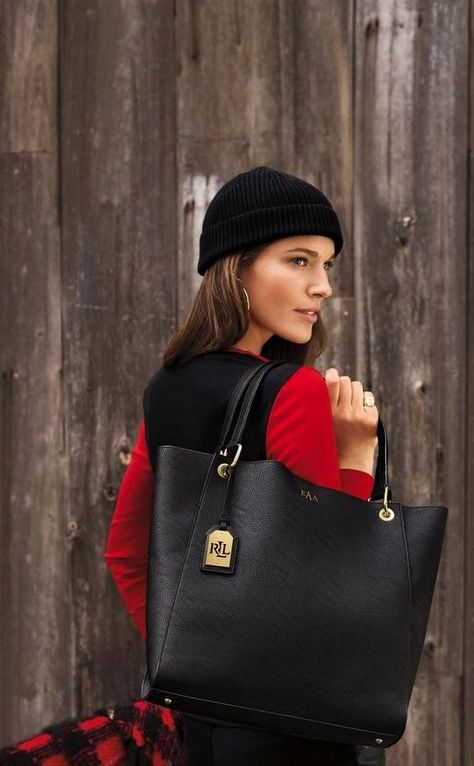 The Lauren Ralph Lauren leather Aiden tote is the perfect gift for the woman on he go.