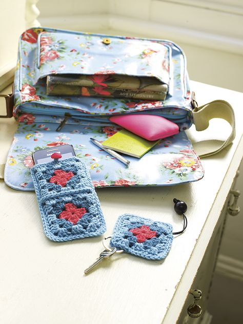Square Deal - Make a crochet smartphone cosy and matching key cover from colourful granny squares #crochet #crochetphonecover #crochetkeyring