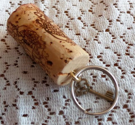 Sale, Wine Cork Keyring, Steampunk Key Chain, Key, Key Holder, Key Fob, Unique Keyrings, Up cycled Wine Accessories, Gift for Women, Keyring