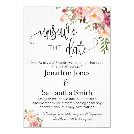 Unsave The Dates Wedding Date Change Pink Floral Invitation