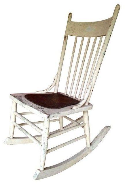 White Wooden Rocking Chair Schaukelstuhl Stuhle Schaukel