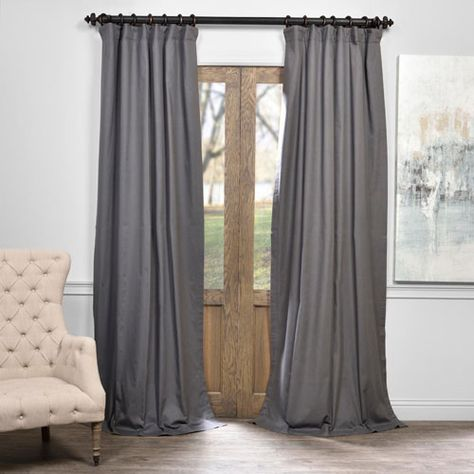 Millstone Gray 50 X 96 Inch Solid Cotton Blackout Curtain Panel