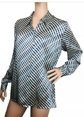 Austin Reed Womans Silk Blouse Size 12 Zig Zag Check Blue Black White Long Sleev Ebay Wrap Top Blouse Women Blouse Size