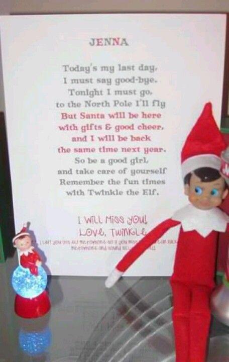Cute Elf On The Shelf Farewell Letter  Elf On The Shelf