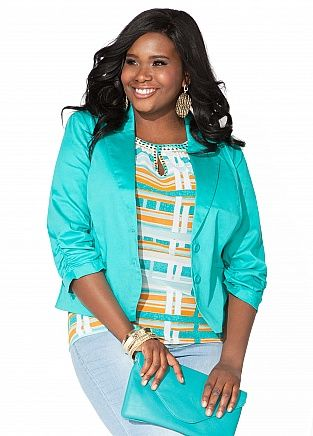 """Ashley Stewart: Sateen Rouched Blazer  Sateen Rouched Blazer $39.50 Now $27.65! 30% Off! Style: 96920 Layer any outfit with this trendy blazer. Plus size blazer features a ponte lapel that leads to a double button front closure and is finished with cinched detailing at sleeves. Perfect to pair with any of Ashley Stewart's fabulous assortment of dresses!"""""""