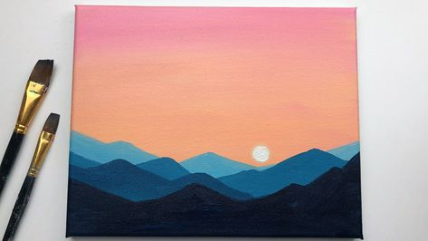Sunset & Mountains Acrylic Painting For Beginners Small Canvas Paintings, Easy Canvas Art, Small Canvas Art, Easy Canvas Painting, Mini Canvas Art, Cute Paintings, Simple Acrylic Paintings, Acrylic Painting Tutorials, Painting Art