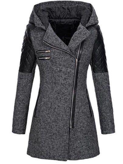 Schief Zip Mittellang Damen Mantel Mit Kapuze | Mäntel
