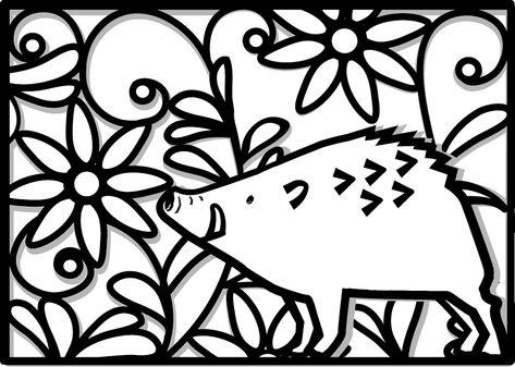 年賀状2019無料イラスト切り絵風いのししと花 桜 切り絵 切り絵 切り絵 図案