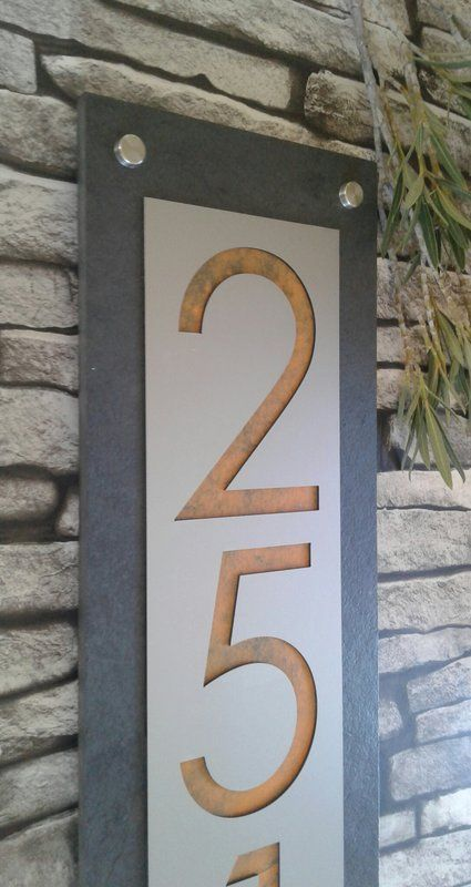 Bungalowg Modern Home 1 3 Line Wall Address Plaque Reviews Wayfair Ca House Numbers Address Plaque Modern House Number