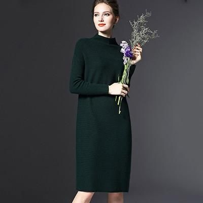 a5405ab9997 Plus Size Long Sleeve Women Dress Fashion 2018 New Turtleneck Vintage Dress  Knitted Dress Office Lady Female Vestidos Drop Ship