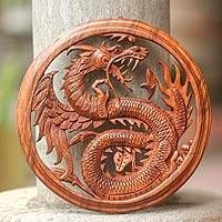 Wood wall panel, 'Dragon with Lotus Bud' - Wood Relief Panel