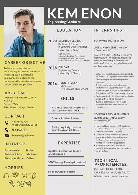 Free Resume Format For Engineering Freshers Downloadable Resume
