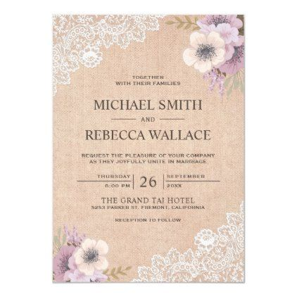 Rustic Country Burlap Lace Pink Floral Wedding Invitation Zazzle