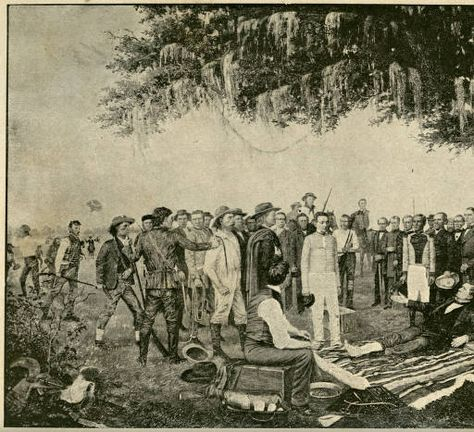 Frontispiece print from William H. Huddle's painting, ''The Surrender of Santa Anna,'' in L. E. Daniell's book, Personnel of the Texas state government: with sketches of representative men of Texas. Held by Southern Methodist University, Central University Libraries, DeGolyer Library.