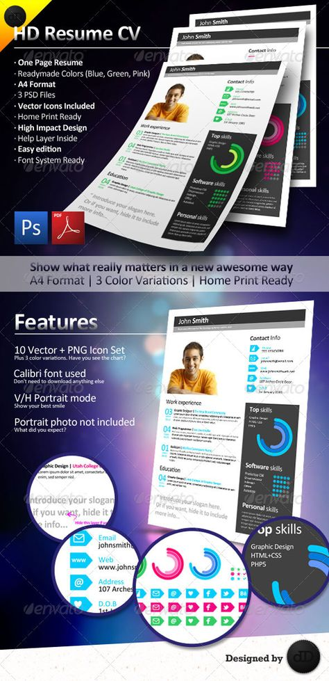 White Dream - Single Page Resume (CV) Resume cv, Glyph icon and - single page resume