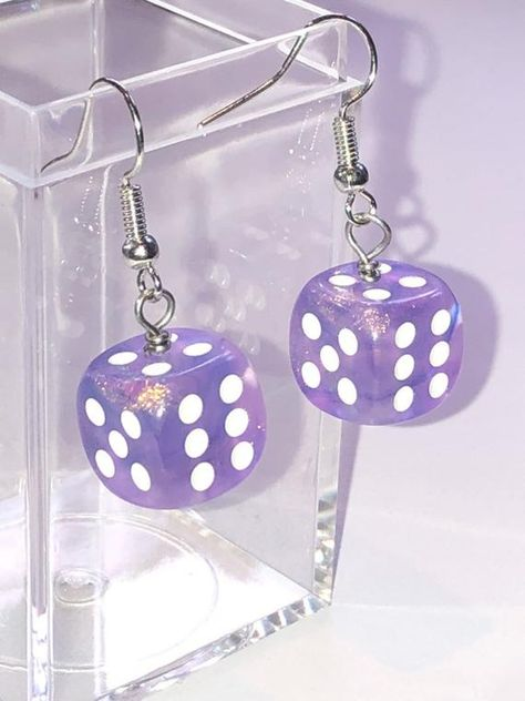 Excited to share this item from my shop: Purple sparkly dice earrings - earrings for gamer girls aesthetic Weird Jewelry, Cute Jewelry, Diy Jewelry, Jewelery, Jewelry Accessories, Funky Jewelry, Purple Accessories, Sparkly Jewelry, Girls Jewelry