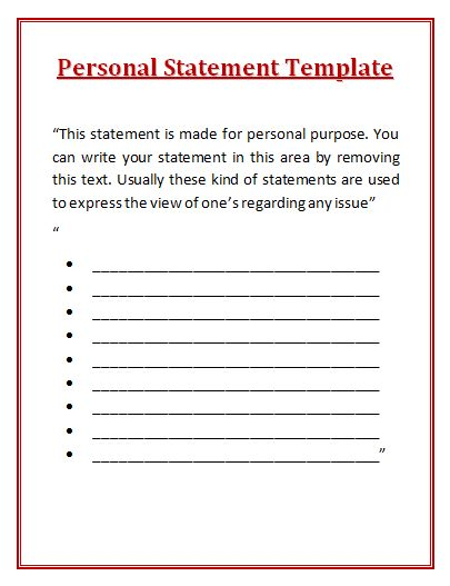 Personal Statement Template wordstemplates Pinterest - medical certificate for sick leave