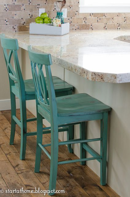 Start At Home A Splash Of Color Barstools Pinterest Paint Furniture Stools And Dark Walnut Stain