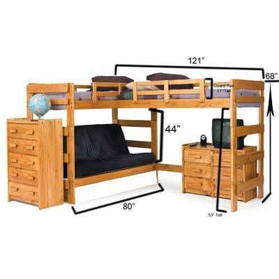 Twin Over Full L-Shaped Bunk Bed in 2019 | Boy bedroom ideas | Kid ...