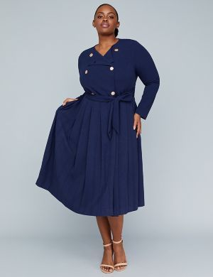 Girl With Curves Pleated Trench Dress   Lane Bryant   Plus ...