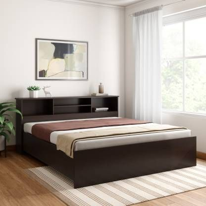 Crystal Furnitech Skyler Engineered Wood King Bed Finish Color Dark Elm Bed Price King Beds Bed