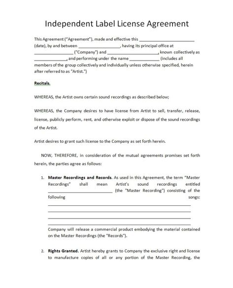 Pricing Record Label Agreements - music licensing contract - music agreement contract