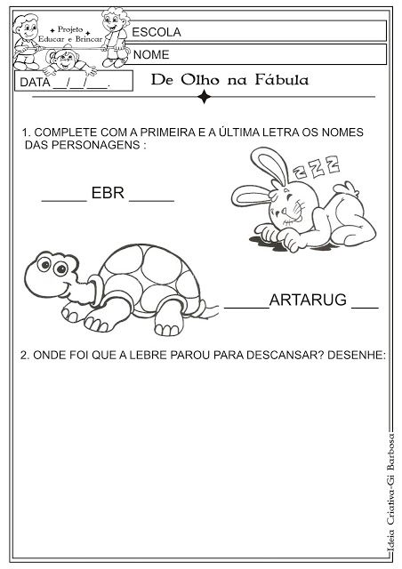 Atividade Fabula Lebre E A Tartaruga Educacao Infantil