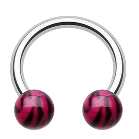 5mm - Sold as a Pair - Ball Size: 5//16 8mm Colorline PVD Horseshoe Circular Barbell 4 GA
