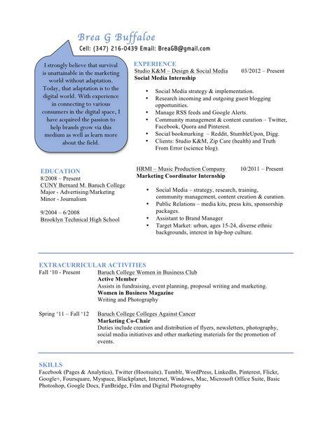 Updated Resume Social Media Marketing Community Management - marketing advertising resume