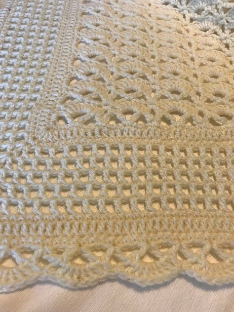 Greens and Browns Throw Blanket Lap or Wheelchair Blanket Crochet Baby Blanket in Jade Green Variegated and Browns Diagonal Shell Stitch