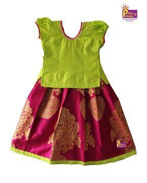 d149d034ef Kids Light Green Pink Grand Pavadai Pattu pavadai Pattu Langa Kids  Traditional Ethnic Pattu Pavadai