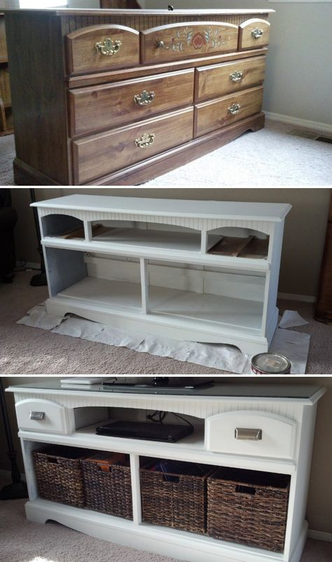 A coat of white paint, removal of some drawers, new hardware and several baskets complete the transformation of a thrift-store dresser into a fresh TV stand and media center.   Via At The Park's