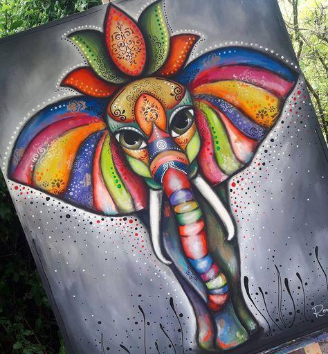 Los Elefante Elefantes Pintados Pintura De Elefante Cuadros Elefantes