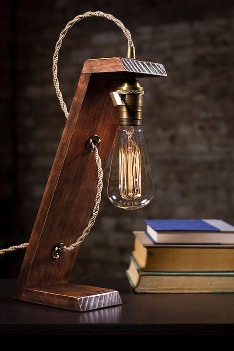 Wooden Edison Table Lamp   Desk Lamp   Bed Light   Night Light   Lamp   Industrial   Edison Bulb