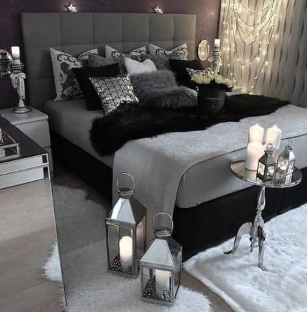 Trendy Bedroom White Black Grey Shades Ideas Black Bedroom Decor White Bedroom Decor White And Silver Bedroom