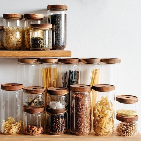 Home Interior Inspiration Vintage Cottage Clear Glass Kitchen Canisters with Wooden Lids Kitchen Storage Jars Set of Interior Inspiration Vintage Cottage Clear Glass Kitchen Canisters with Wooden Lids Kitchen Storage Jars Set of 5 Diy Kitchen Storage, Jar Storage, Kitchen Organization, Glass Storage Jars, Farmhouse Storage And Organization, Medicine Organization, Spice Storage, Storage Canisters, Kitchen Cleaning