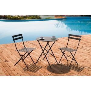 FINLANDEK - Set bistrot table avec 2 chaises - Taupe - HIENO ...