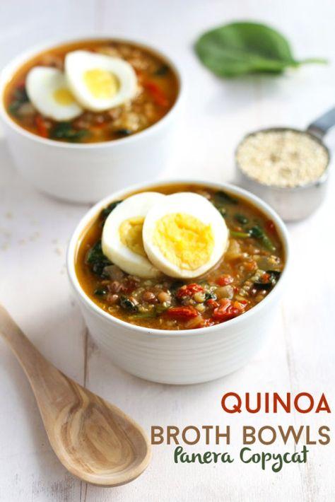 Copycat Panera Lentil, Quinoa Broth Bowl via thebalancedberry.com