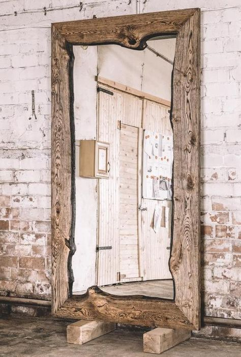 Industrial oak mirror / Wooden mirror / Rustic mirror / Home decor / Rustic furniture / Industrial f