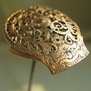 Engraved Gold Hatpin - Handmade
