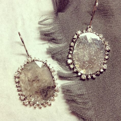 { Kimberly McDonald 18k white gold and diamond slice earrings }